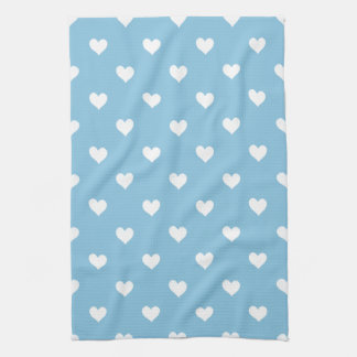 Sky Blue With White Hearts Kitchen Towel