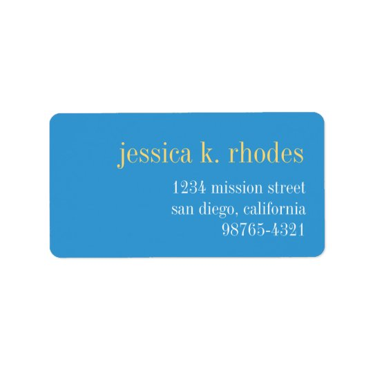Sky blue yellow typography modern return address address label