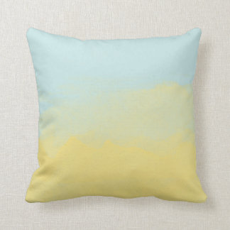 Sky Blue Yellow Watercolor Painting Art Modern Throw Pillow