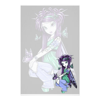 """""""Sky"""" Butterfly Rose Fairy Art Sationery Custom Stationery"""