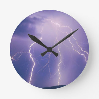 Sky Chain Lightning Round Clock