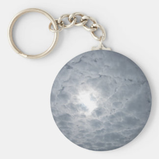 Sky clouds basic round button key ring