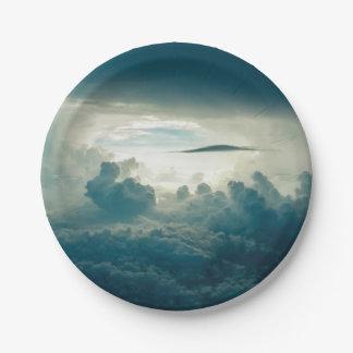 Sky clouds paper plate