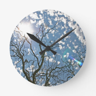 Sky Dead Tree Illuminations Round Clocks