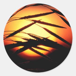 Sky Dewy Meadow Sunrise Oakland Michigan Round Sticker