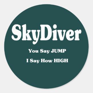 Sky Diver Classic Round Sticker