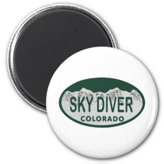 sky diver license oval 6 cm round magnet