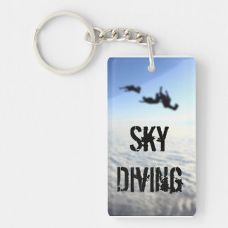 Sky Diving blue sky Single-Sided Rectangular Acrylic Key Ring