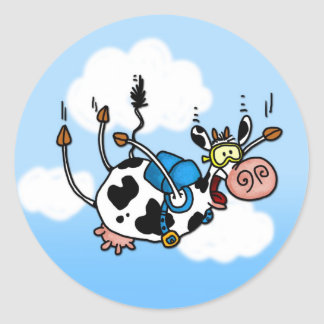 sky diving cow no txt stickers