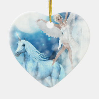 Sky Faerie Asparas and Unicorn Vignette Christmas Ornament