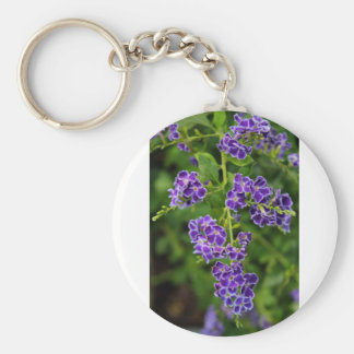 Sky Flower II Basic Round Button Key Ring