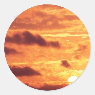Sky Golden Glow Round Sticker