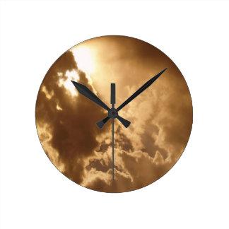 Sky Golden Glow Shines Wall Clock