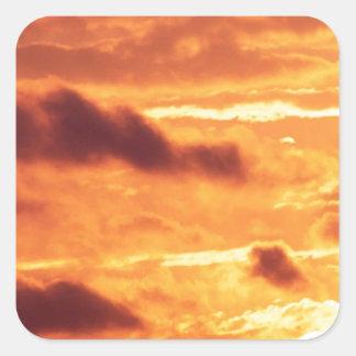 Sky Golden Glow Square Sticker