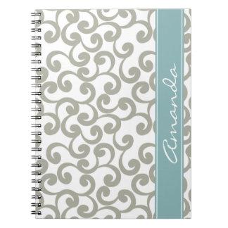 Sky Gray Monogrammed Elements Print Notebook