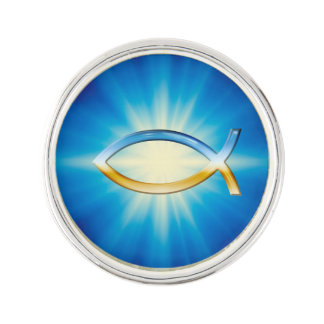 Sky & Ground Ichthus Christian Symbol Lapel Pin
