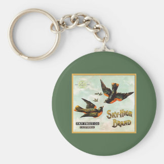 Sky High Brand Fruit Labels Basic Round Button Key Ring