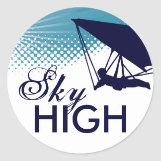 sky high hang gliding round stickers
