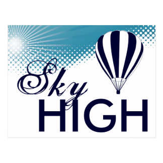 sky high hot air balloon postcard