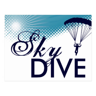 sky high skydiving postcard
