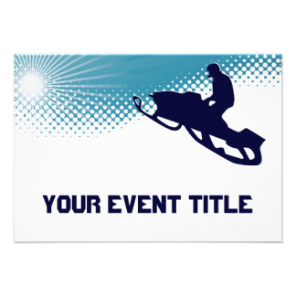 sky high snowmobile personalized invitation