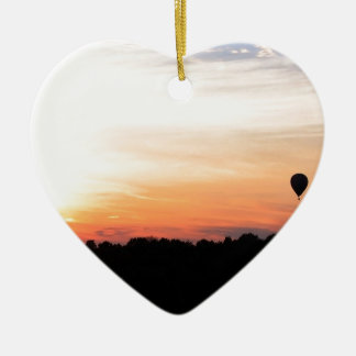 Sky Hot Air Balloon Sunset Ceramic Heart Decoration