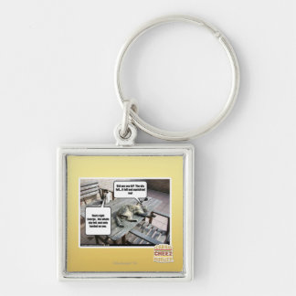 Sky is Falling Silver-Colored Square Key Ring