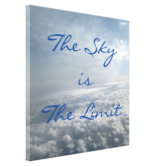 Sky is The Limit Plane View Heavenly Clouds Canvas Gallery Wrapped Canvas