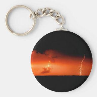 Sky Lightning Bolts Extreme Basic Round Button Key Ring