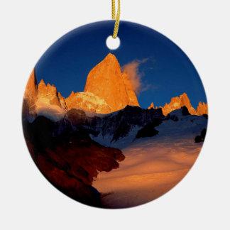 Sky Mount Fitzroy At Night Round Ceramic Decoration