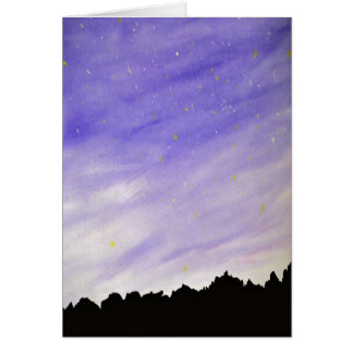 Sky Mountain Night Background Greeting Cards