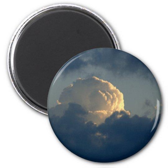 Sky Mushroom 6 Cm Round Magnet