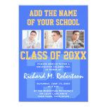 Sky Royal Blue and Gold Athlete's Graduation 13 Cm X 18 Cm Invitation Card