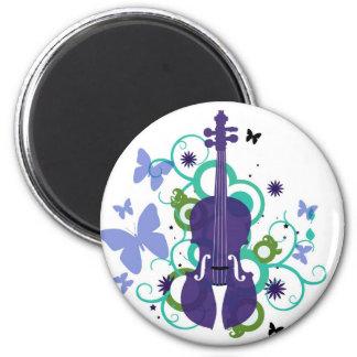 Sky Violin Design 6 Cm Round Magnet