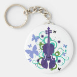 Sky Violin Design Basic Round Button Key Ring
