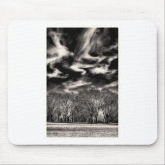 Sky Wisps over a Small Urban Forest of Trees Mouse Pad