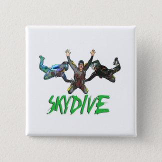 Skydive - Green Text 15 Cm Square Badge