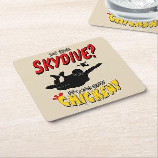 Skydive or Chicken? (blk) Square Paper Coaster