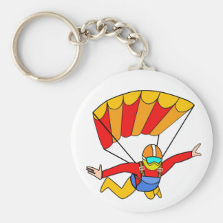 Skydive Red Yello Parachute Basic Round Button Key Ring
