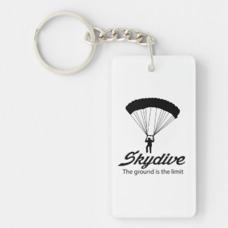 Skydive the Ground Is The Limit Double-Sided Rectangular Acrylic Key Ring