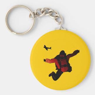 Skydiver Basic Round Button Key Ring