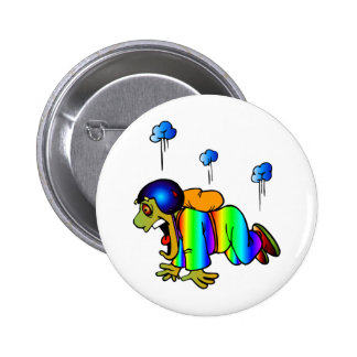 Skydiver falling with closed parachute - oh 6 cm round badge