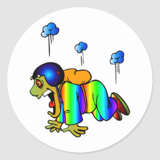 Skydiver falling with closed parachute - oh classic round sticker