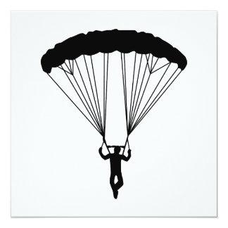 skydiver silhouette 13 cm x 13 cm square invitation card