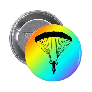 skydiver silhouette 6 cm round badge