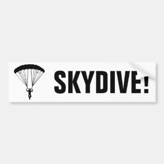 skydiver silhouette car bumper sticker