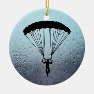 skydiver silhouette christmas ornament