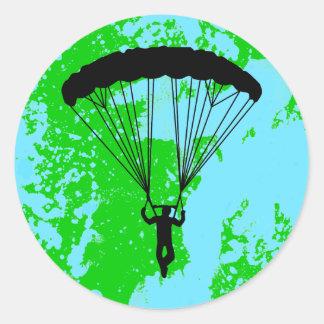 skydiver silhouette classic round sticker