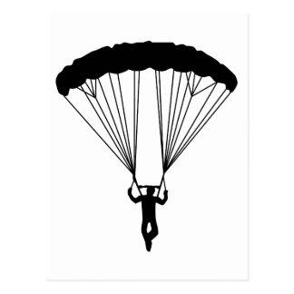 skydiver silhouette postcard