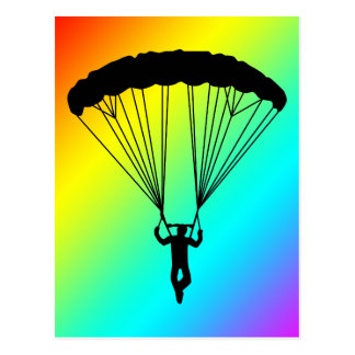 skydiver silhouette postcards